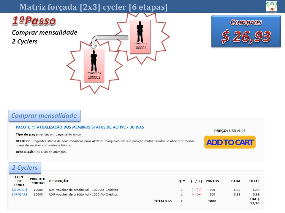 $ 26,93 1ºPasso Matriz forçada [2x3] cycler [6 etapas] Compras